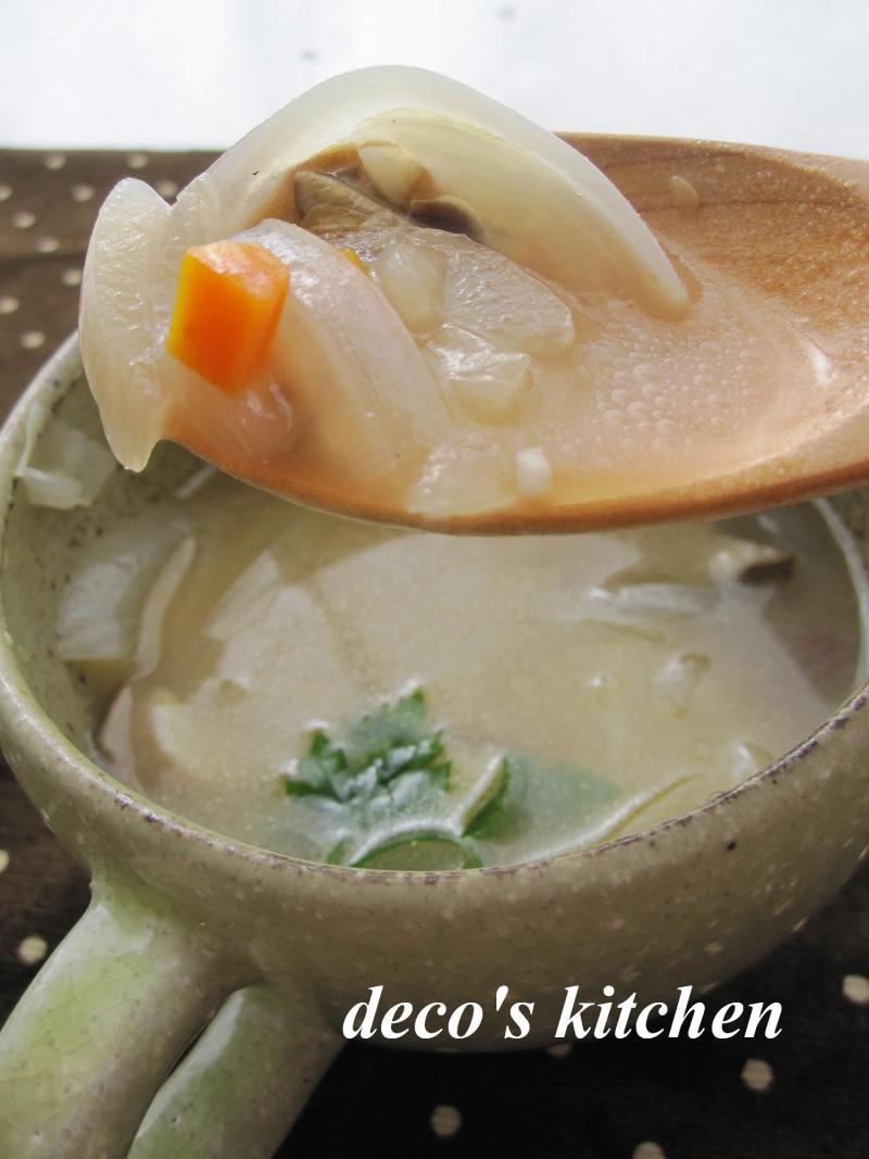 decoの小さな台所。-お豆さんときのこのチーズスープ5