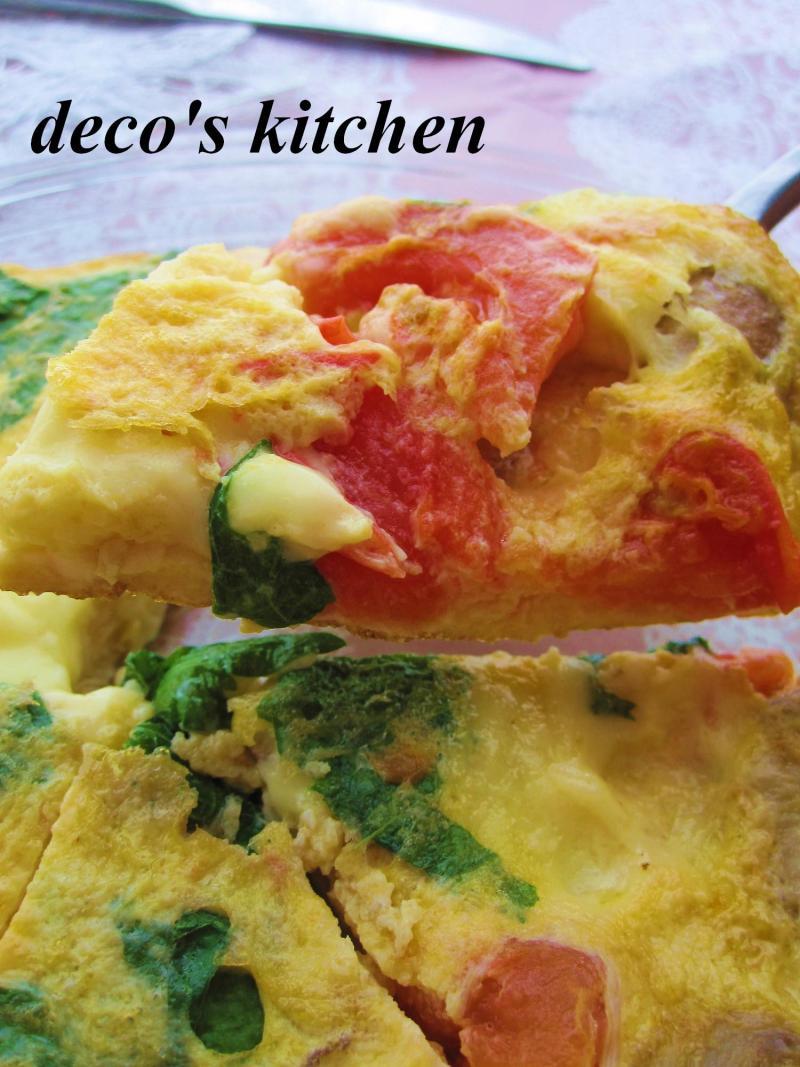 decoの小さな台所。-大葉トマトチーズマッシュルームのオムレツ2