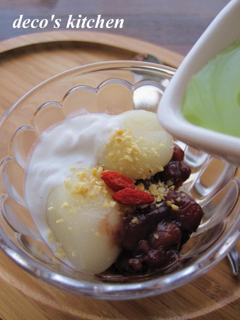 decoの小さな台所。-ココナッツみるくとあずきの緑茶ぜんざい3