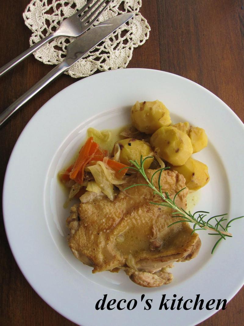 decoの小さな台所。-栗と鶏もも肉の白ワイン煮込み2