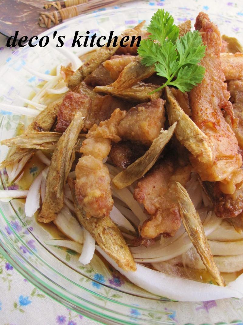 decoの小さな台所。-新玉ねぎと豚から揚げのマリネ4