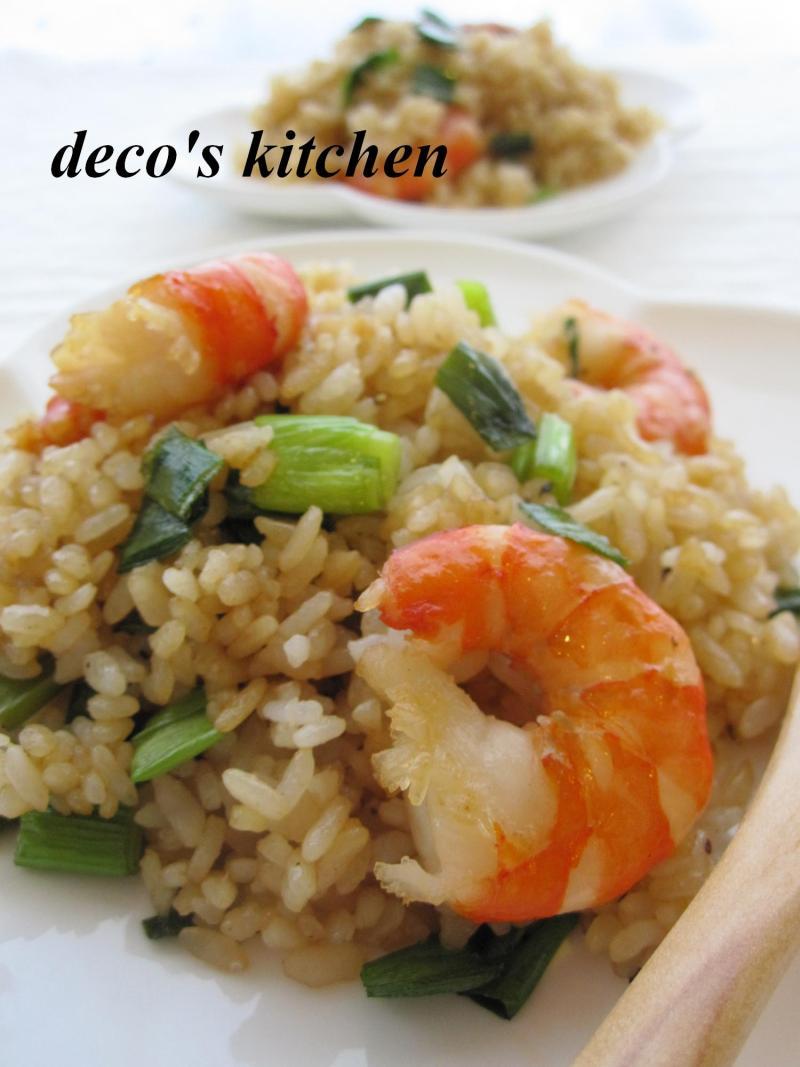 decoの小さな台所。-海老とねぎのマヨ炒飯からし醤油1