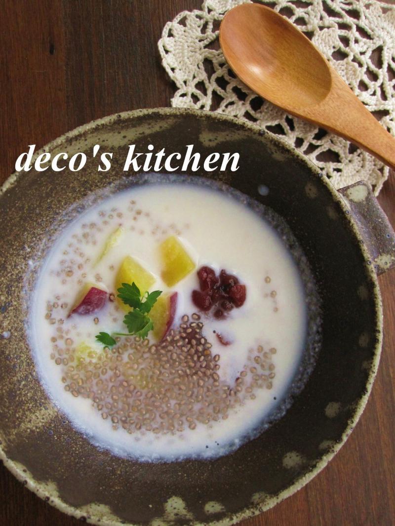 decoの小さな台所。-さつまいもとサルバチアのココナッツ汁粉1