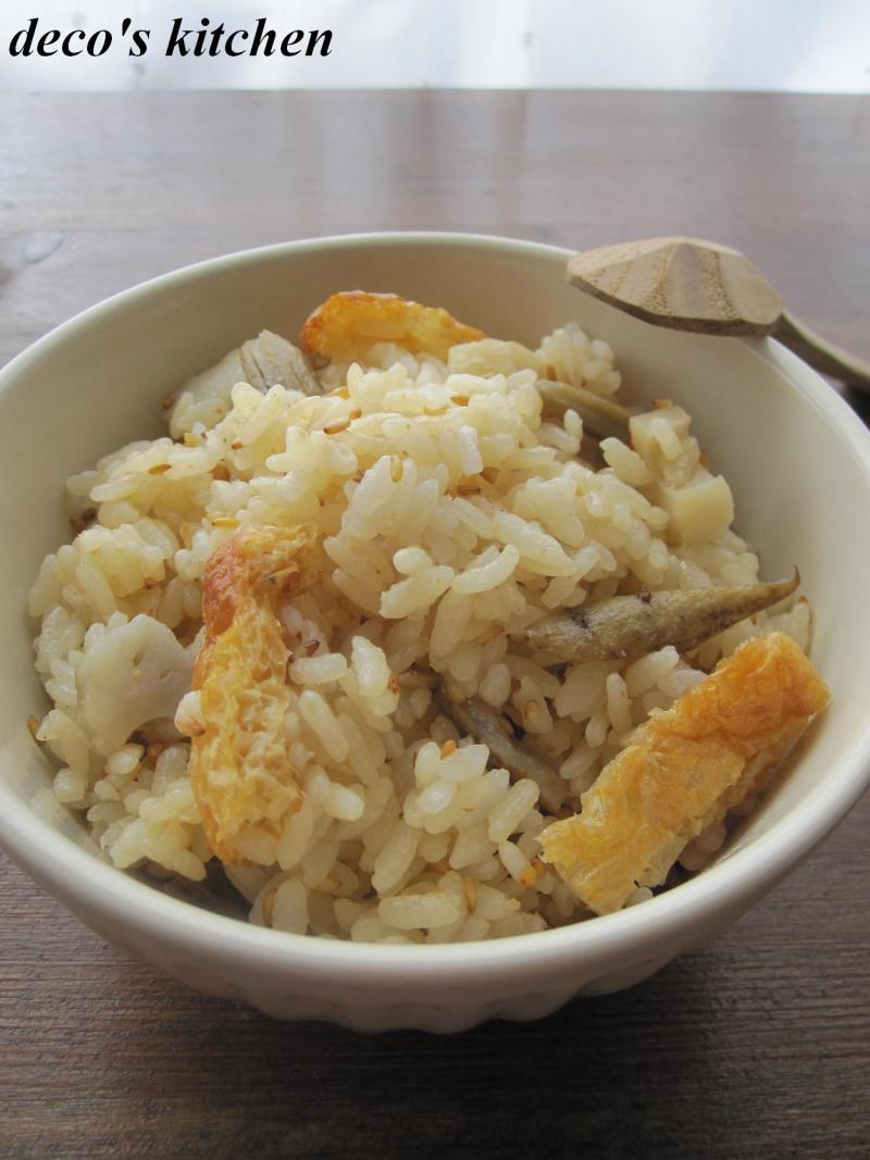 decoの小さな台所。-焼きお揚げと焼き野菜のまぜご飯。