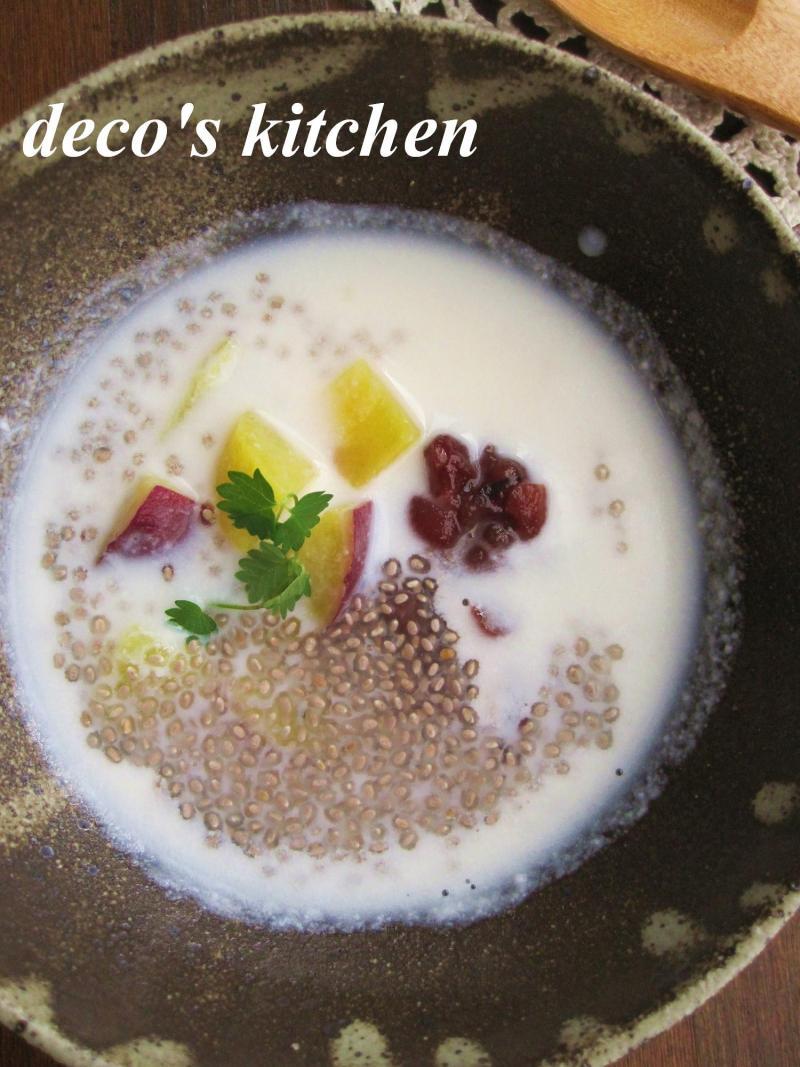 decoの小さな台所。-さつまいもとサルバチアのココナッツ汁粉2