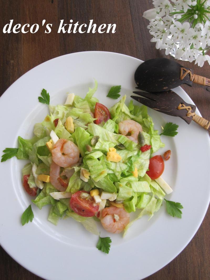 decoの小さな台所。-ざくっと太切りレタスのスイチリサラダ1