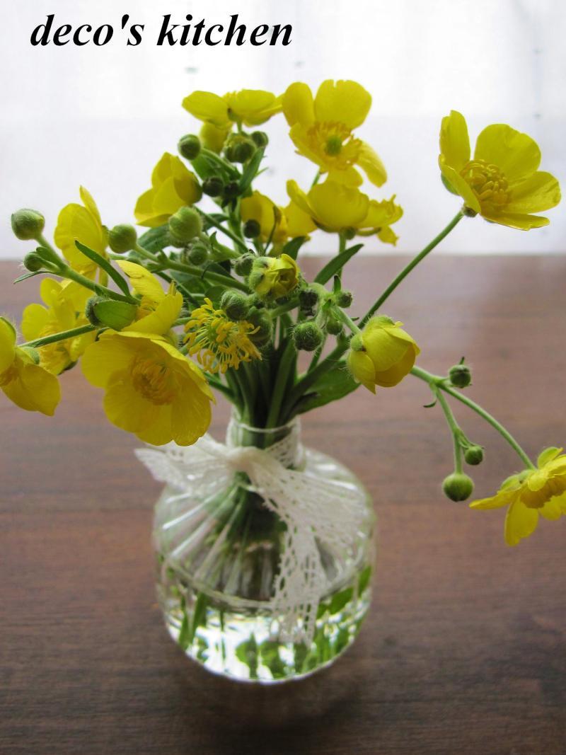decoの小さな台所。-ちびdecoが摘んだ花