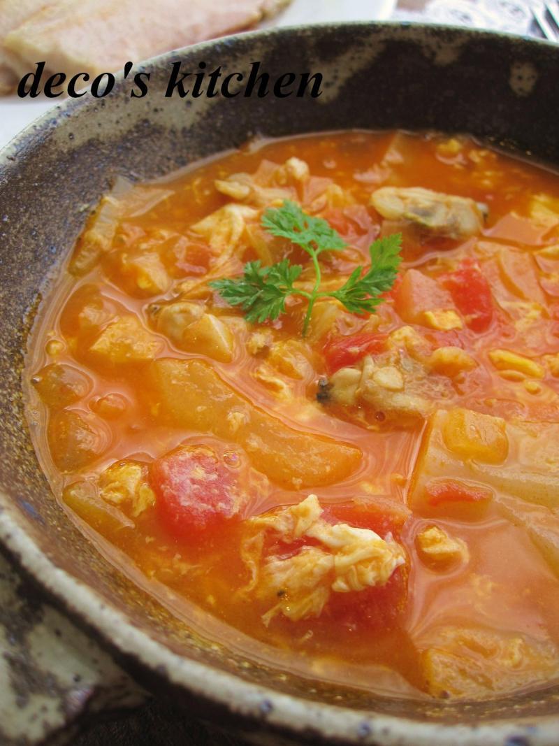 decoの小さな台所。-常春キャベツとアサリのトマトチャウダー3