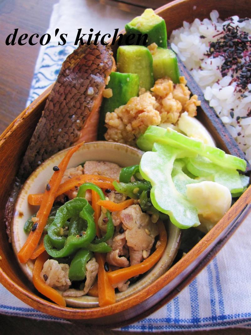 decoの小さな台所。-鶏ひき肉ときゅうりのピリ辛炒め弁当2