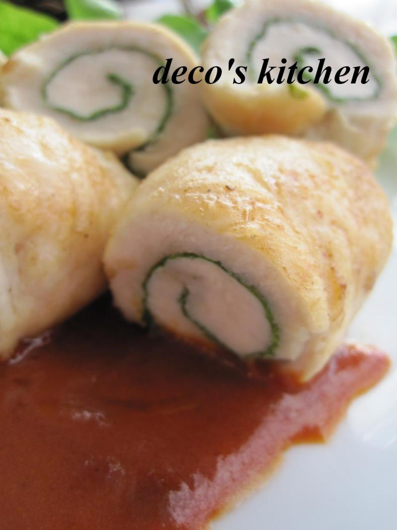 decoの小さな台所。-ささみしそロールトマトバターソース3