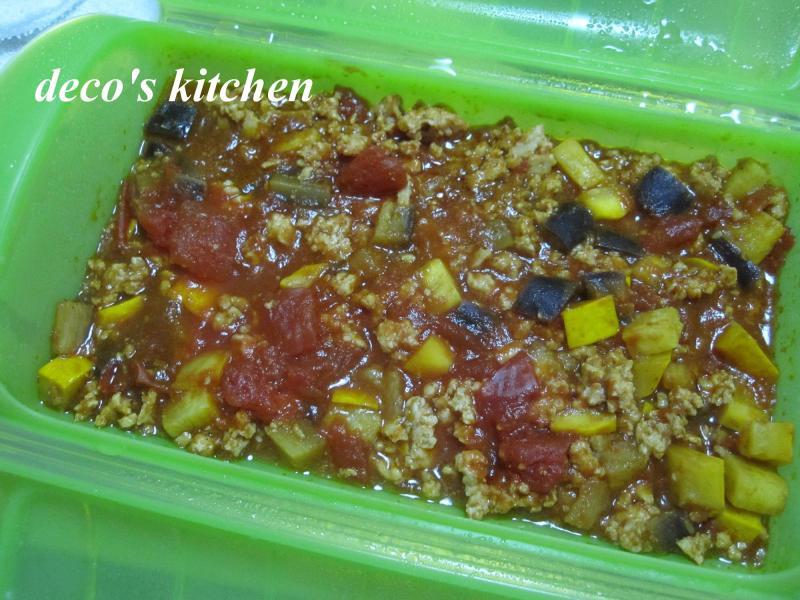 decoの小さな台所。-鶏肉と夏野菜のカレートマトソース