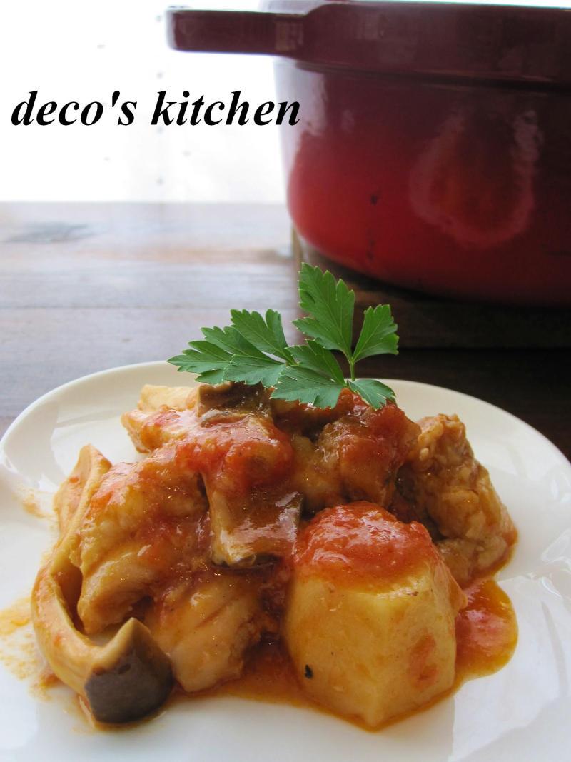 decoの小さな台所。-鶏肉と里いもの生姜トマト味噌煮込み1