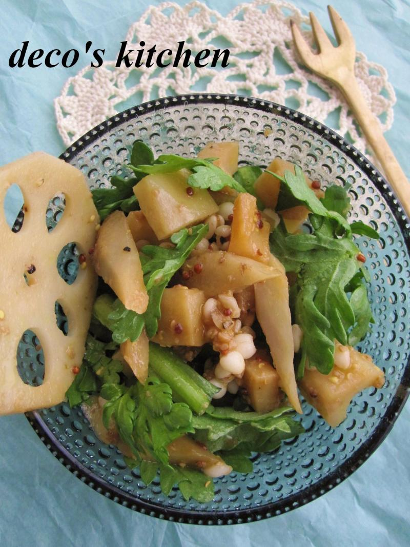 decoの小さな台所。-春菊とごぼれんこんのサラダ1