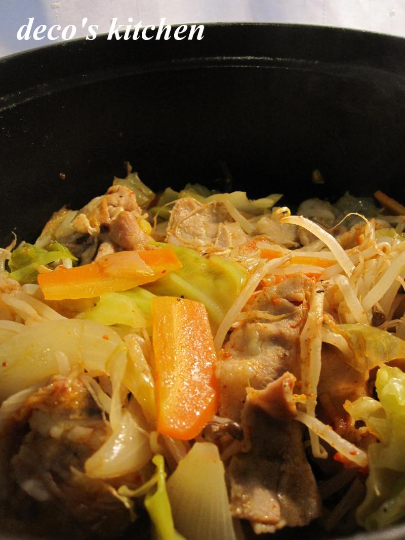 decoの小さな台所。-冷蔵庫一掃☆お野菜たっぷり蒸し豚キム3