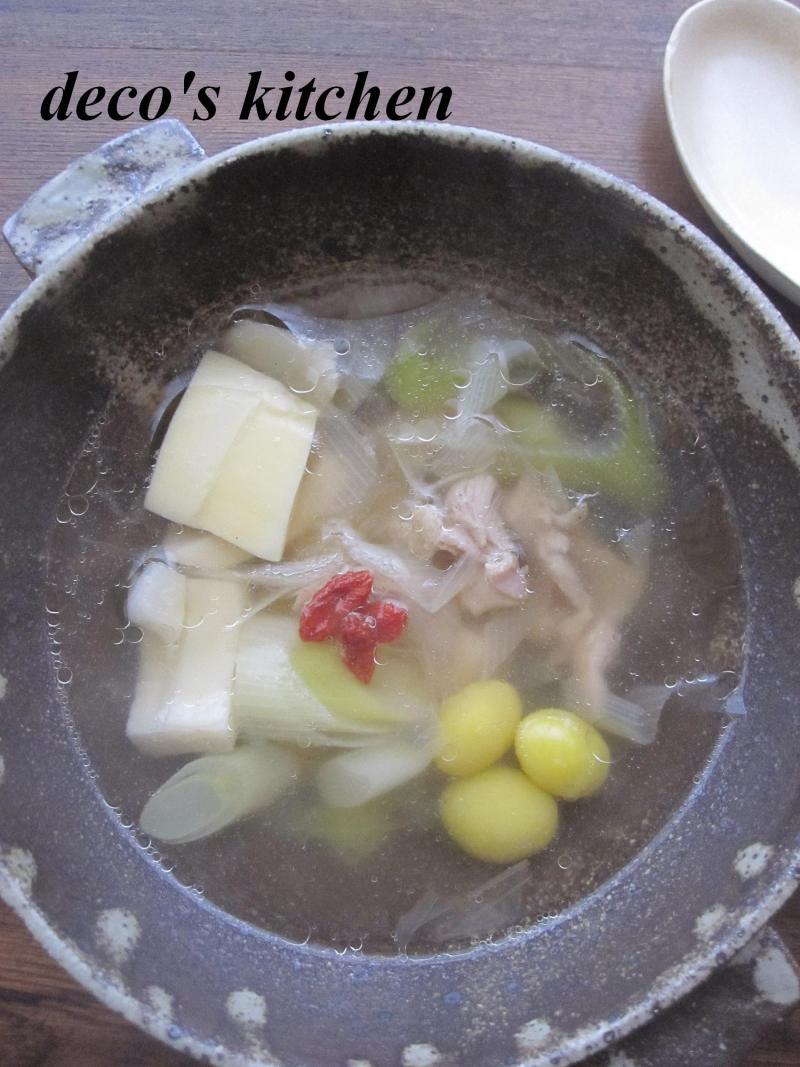 decoの小さな台所。-せせりとねぎの塩生姜スープ2