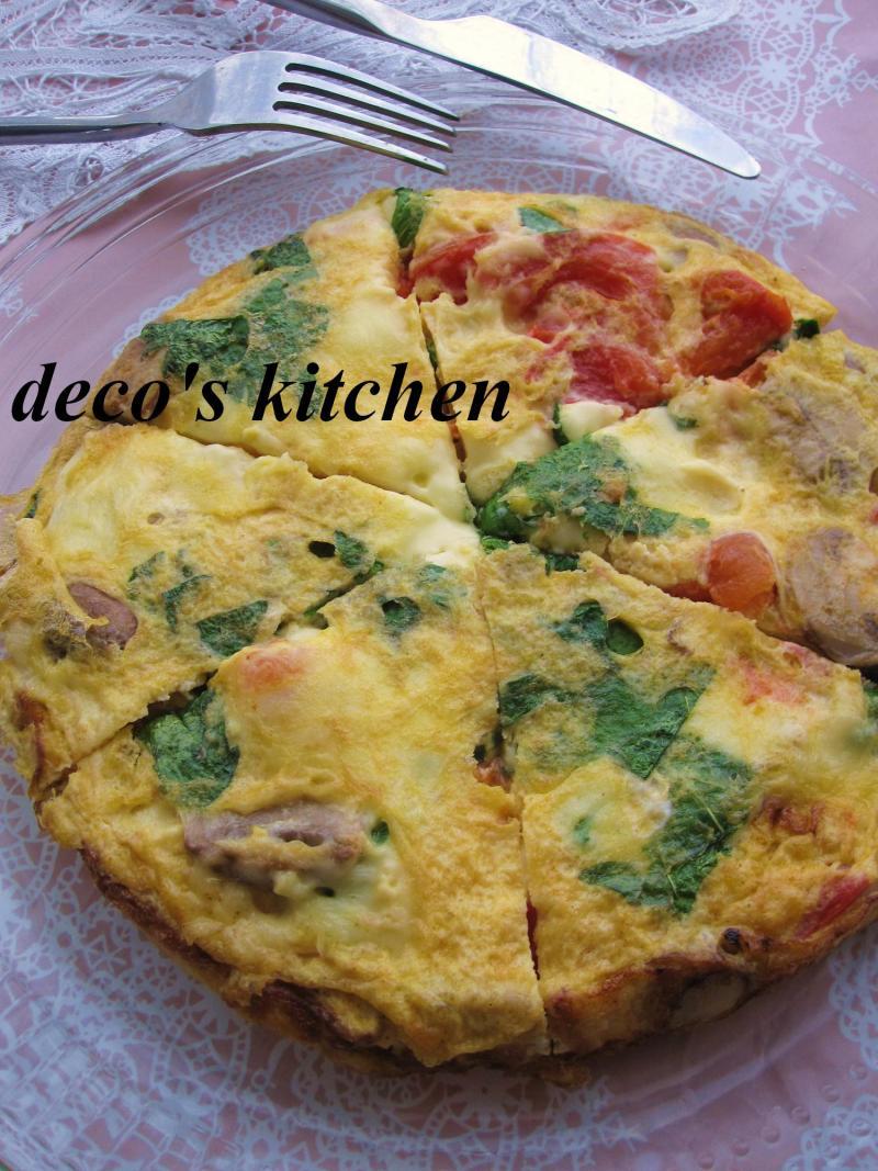 decoの小さな台所。-大葉トマトチーズマッシュルームのオムレツ6