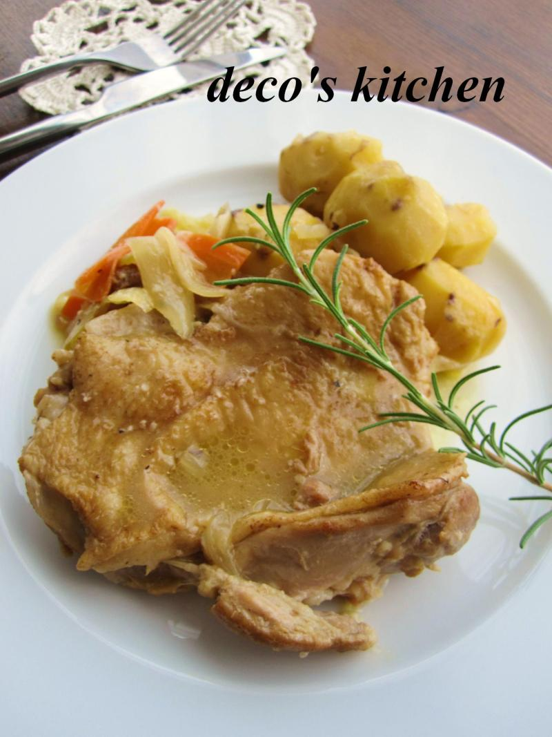 decoの小さな台所。-栗と鶏もも肉の白ワイン煮込み3