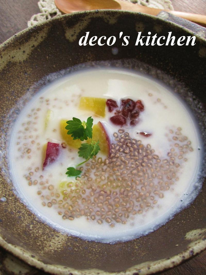 decoの小さな台所。-さつまいもとサルバチアのココナッツ汁粉3