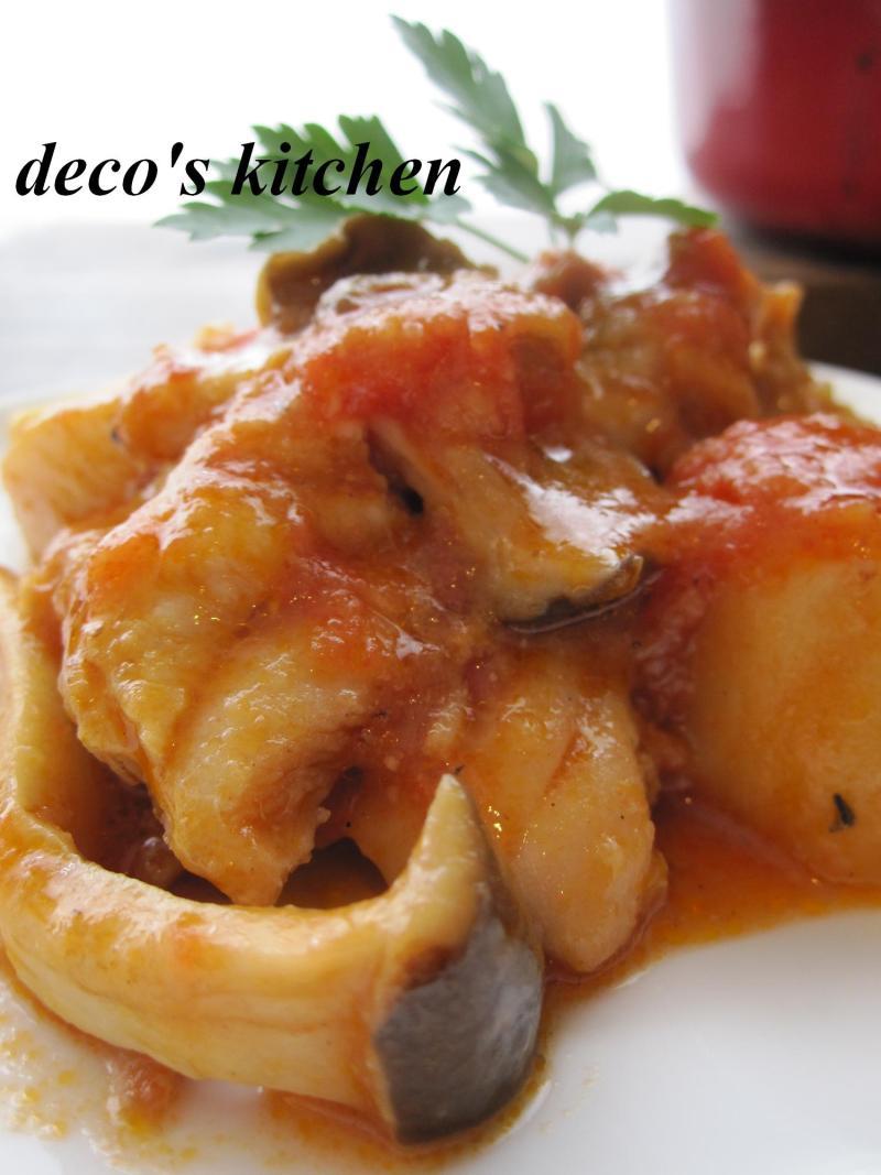 decoの小さな台所。-鶏肉と里いもの生姜トマト味噌煮込み4