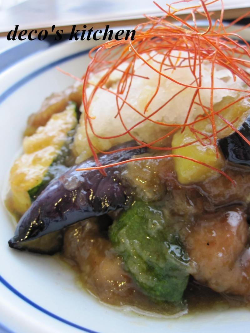 decoの小さな台所。-豚肉と夏野菜の揚げおろし煮5