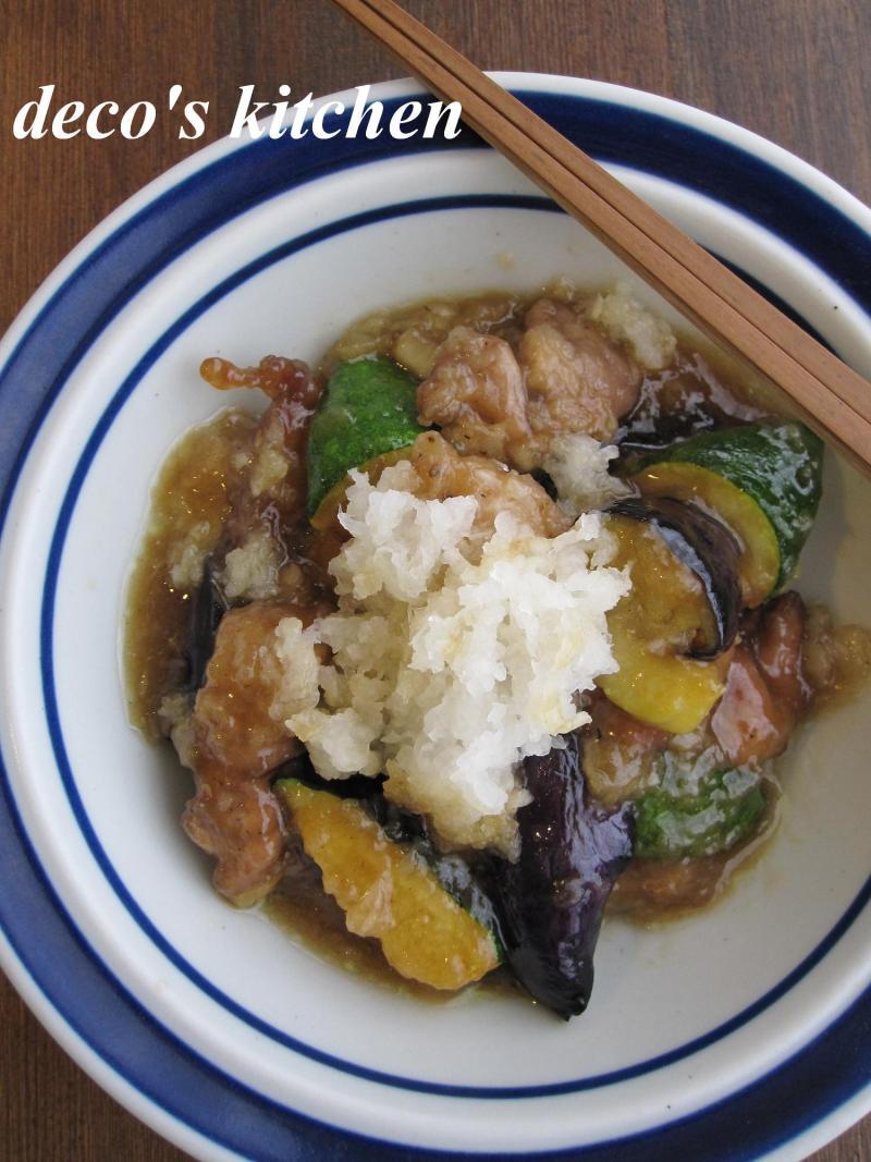 decoの小さな台所。-豚肉と夏野菜の揚げおろし煮1