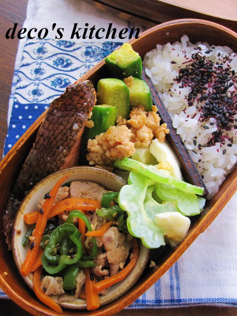 decoの小さな台所。-鶏ひき肉ときゅうりのピリ辛炒め弁当1
