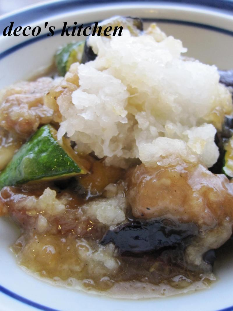 decoの小さな台所。-豚肉と夏野菜の揚げおろし煮2