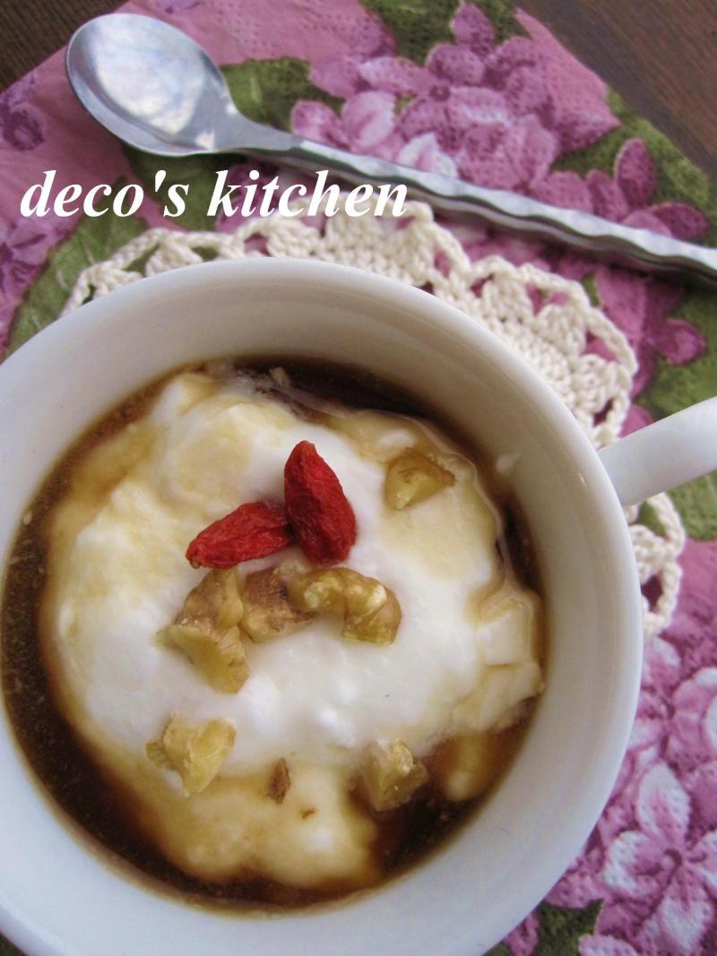 decoの小さな台所。-黒糖バナナ黒酢でヨーグルト2