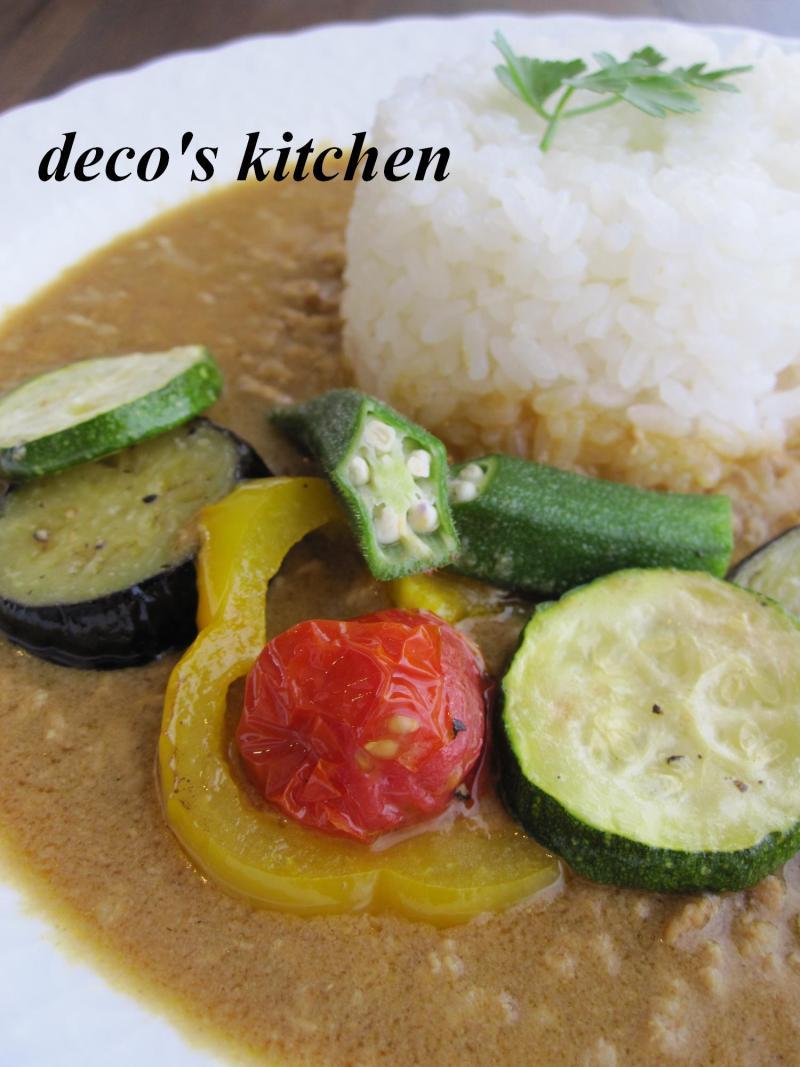 decoの小さな台所。-夏野菜の和風豆乳カレー1