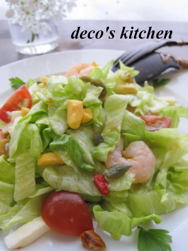 decoの小さな台所。-ざくっと太切りレタスのスイチリサラダ2