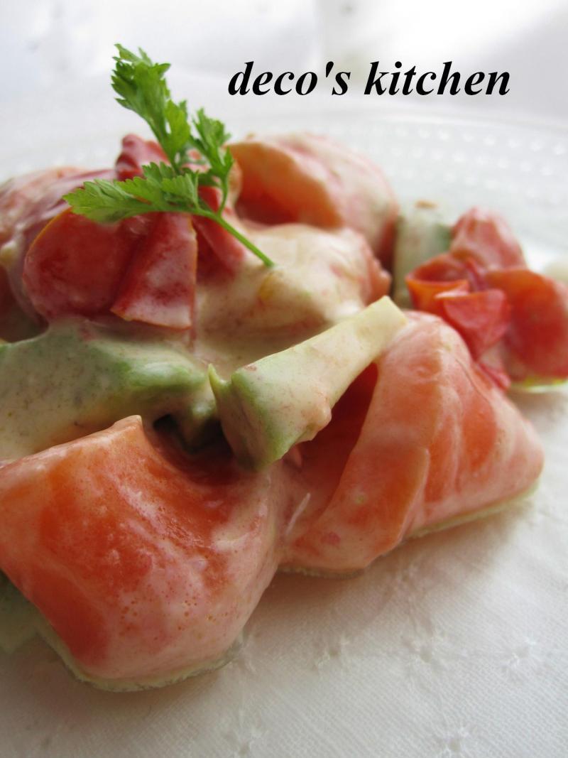 decoの小さな台所。-焼きトマトとアボサーモンのわさびヨーグルト和え7
