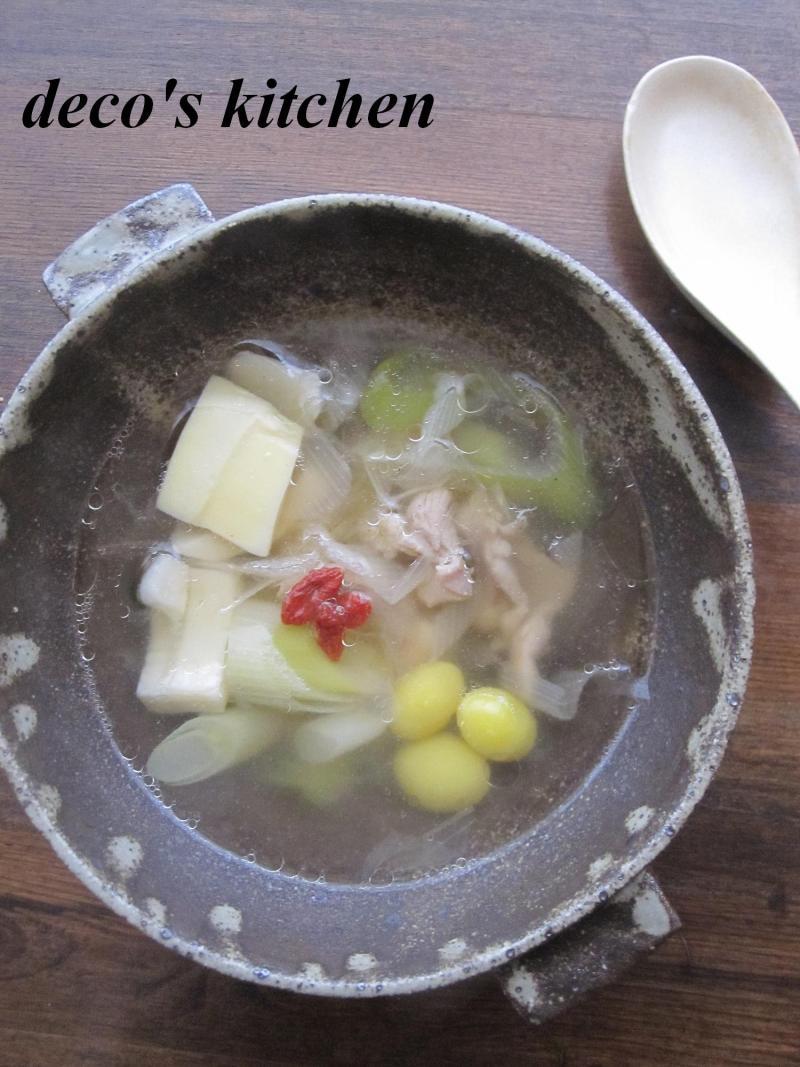 decoの小さな台所。-せせりとnねぎの塩生姜スープ1
