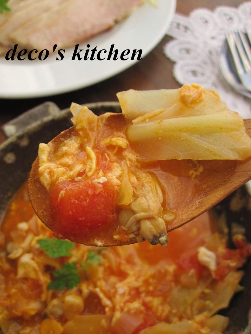 decoの小さな台所。-常春キャベツとアサリのトマトチャウダー6