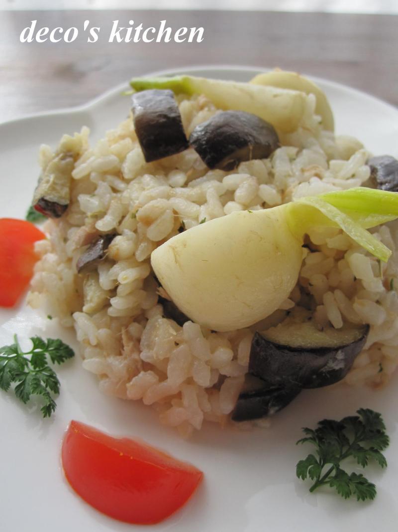 decoの小さな台所。-イタリアンハーブな、蕪と茄子のツナピラフ1