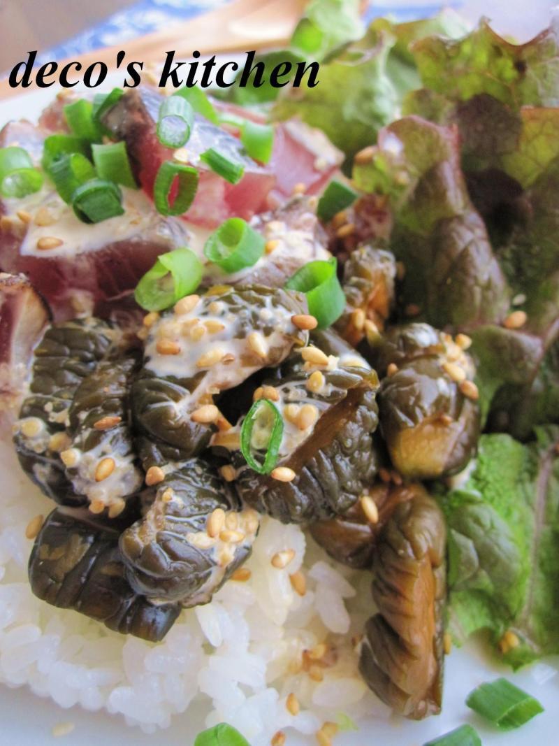 decoの小さな台所。-鰹たたきとキューちゃんのサラダ丼4