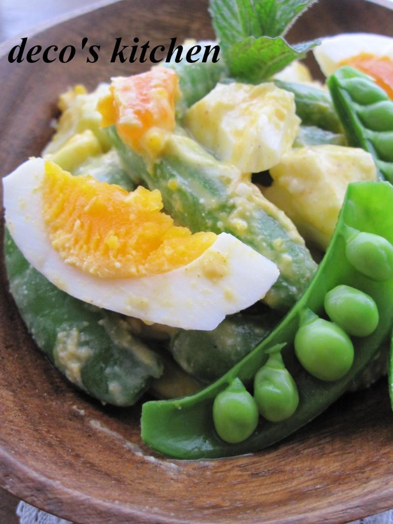 decoの小さな台所。-スナップえんどうとゆで卵のサラダ5