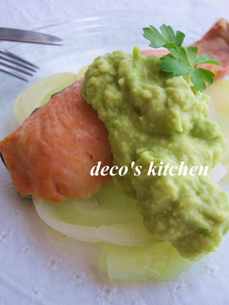 decoの小さな台所。-アボココナッツソース鮭ワイン蒸し3