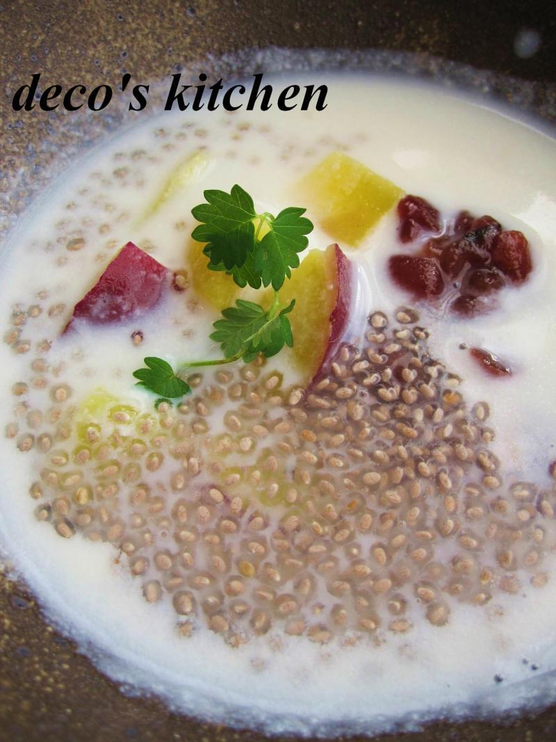 decoの小さな台所。-さつまいもとサルバチアのココナッツ汁粉4