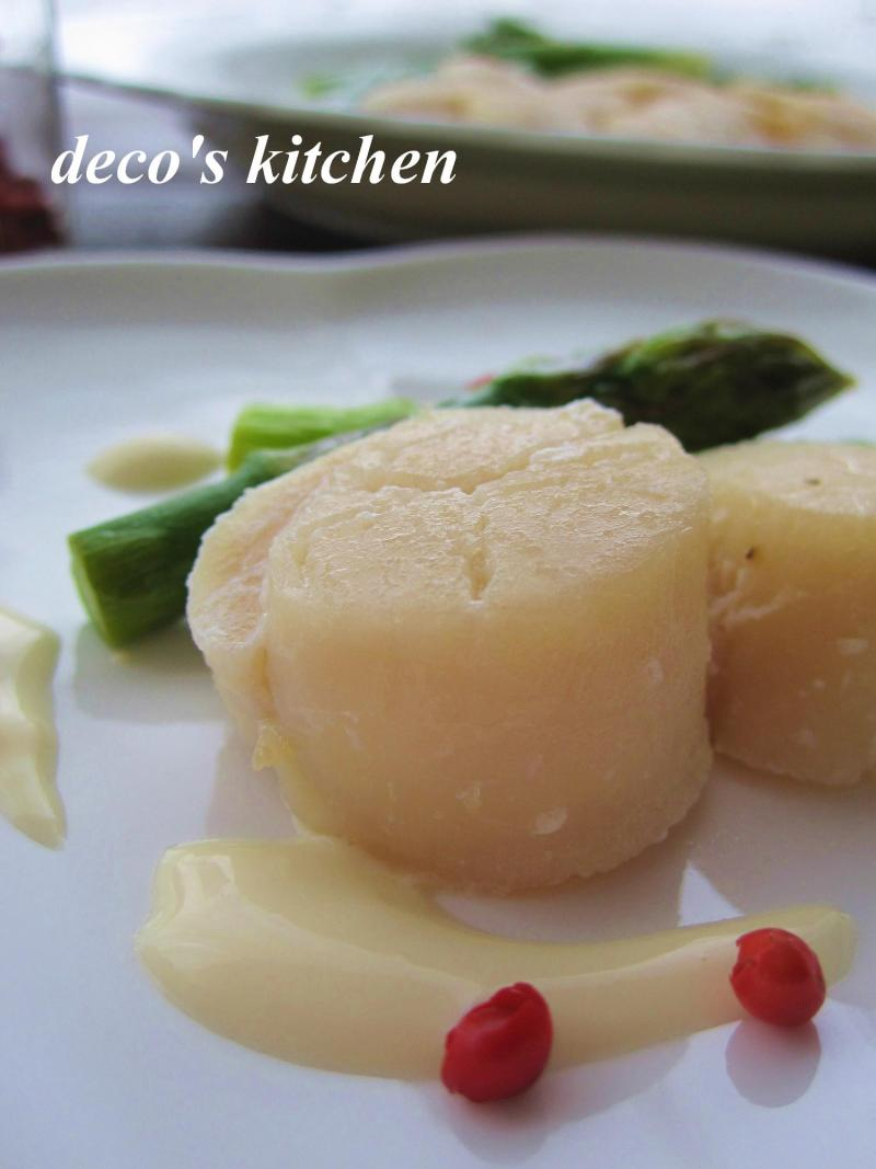 decoの小さな台所。-ホタテとアスパラのレモンクリームソース2