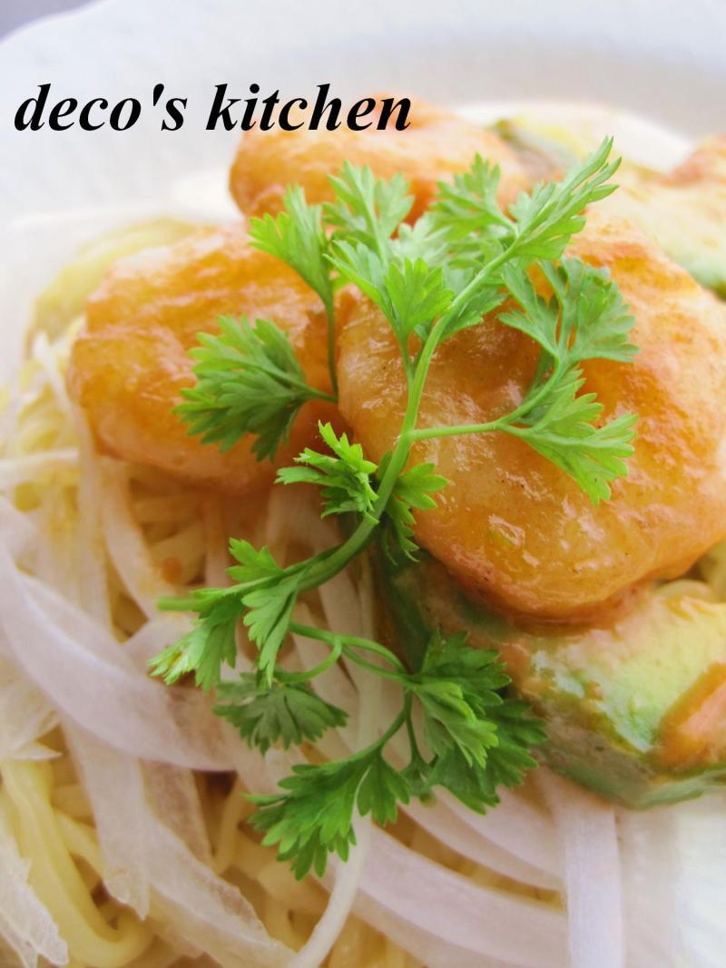 decoの小さな台所。-海老アボ涼麺2