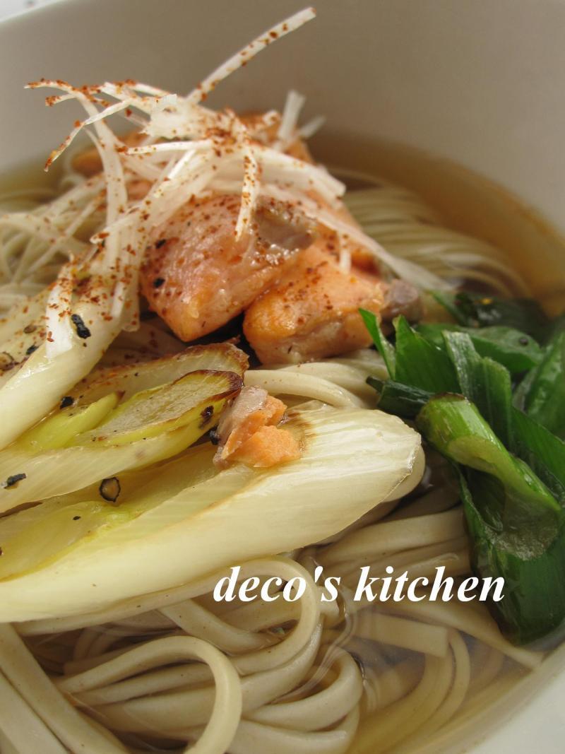 decoの小さな台所。-サーモンねぎ蕎麦4
