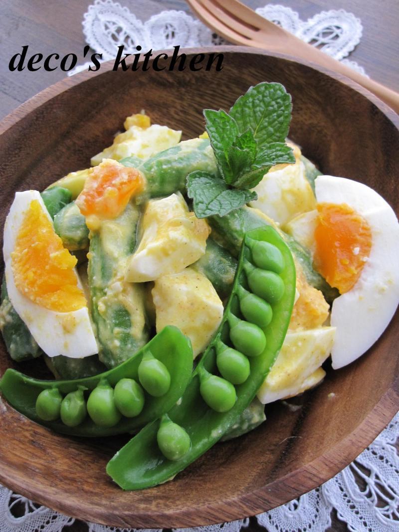 decoの小さな台所。-スナップえんどうとゆで卵のサラダ4