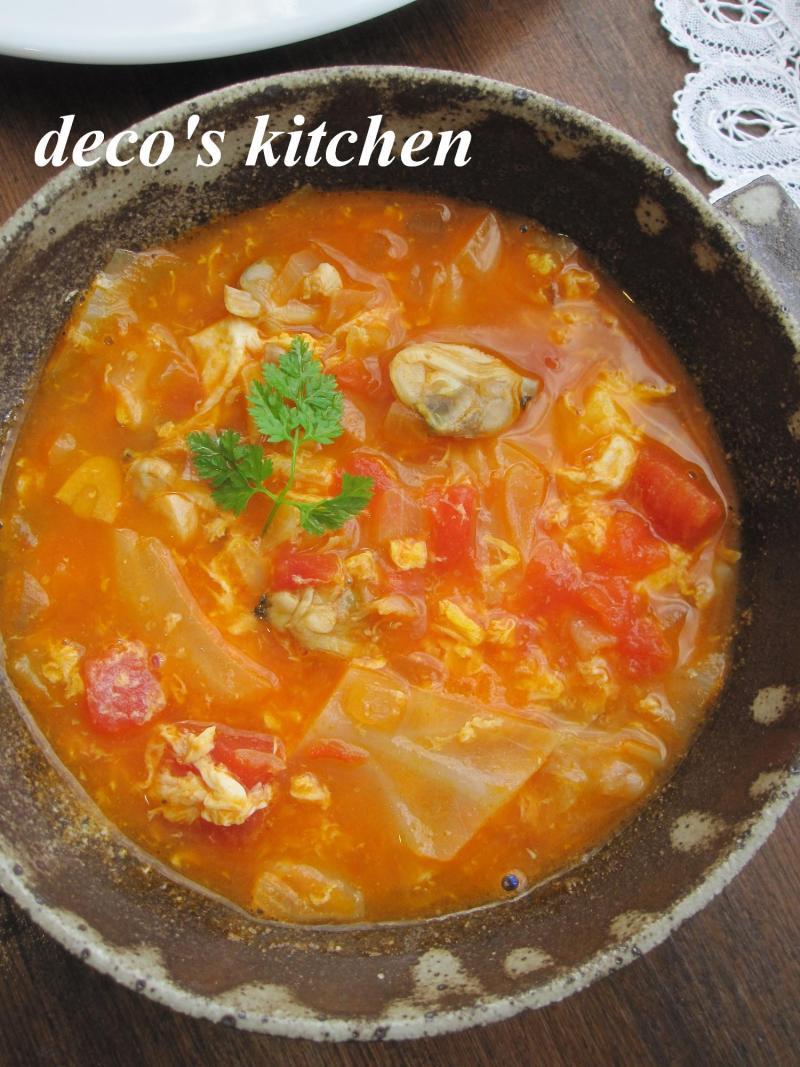 decoの小さな台所。-常春キャベツとアサリのトマトチャウダー2