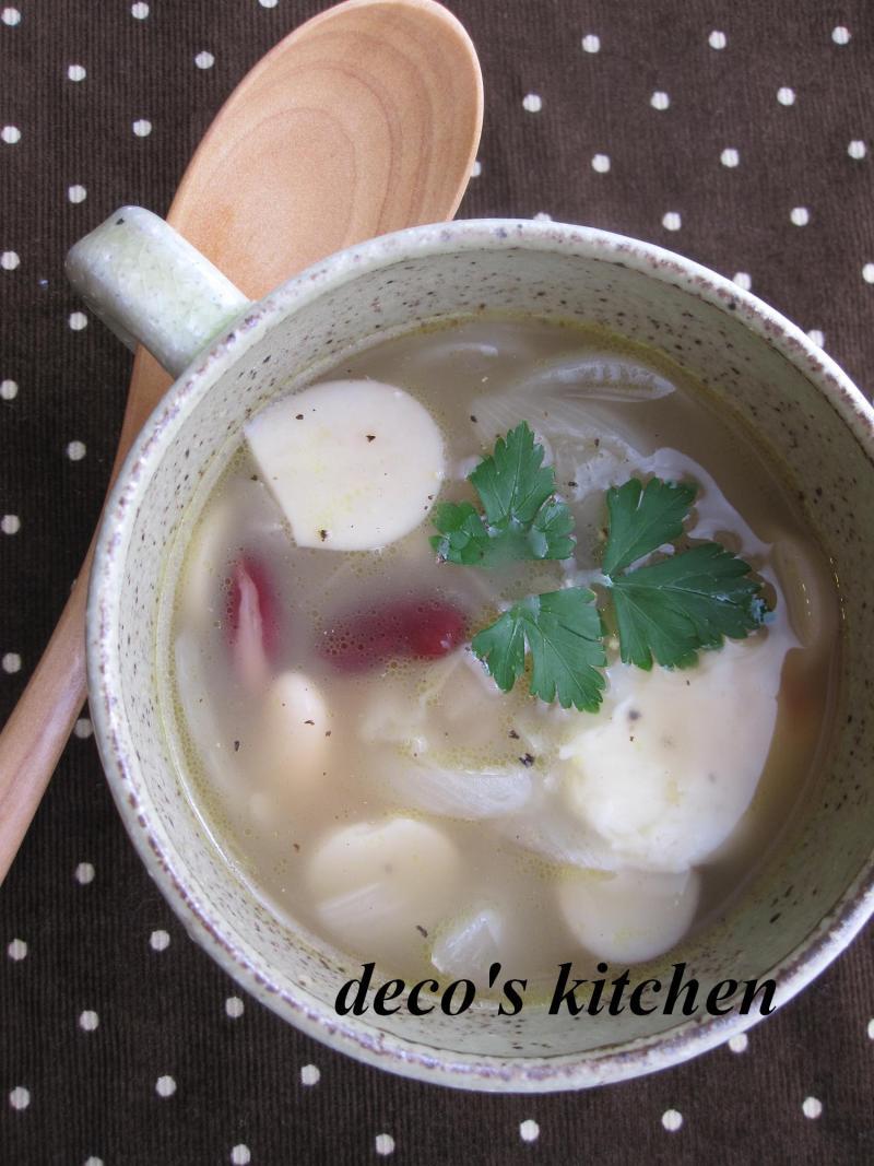 decoの小さな台所。-お豆さんときのこのチーズスープ2