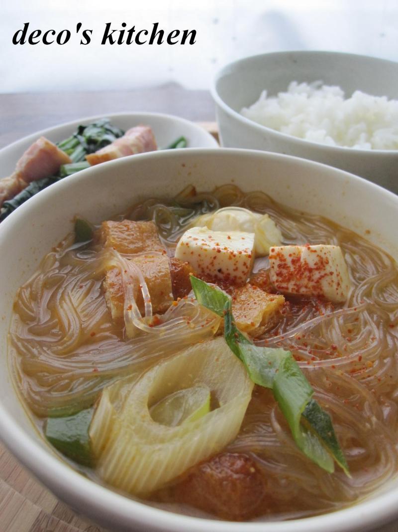 decoの小さな台所。-ピリ辛春雨味噌スープ1