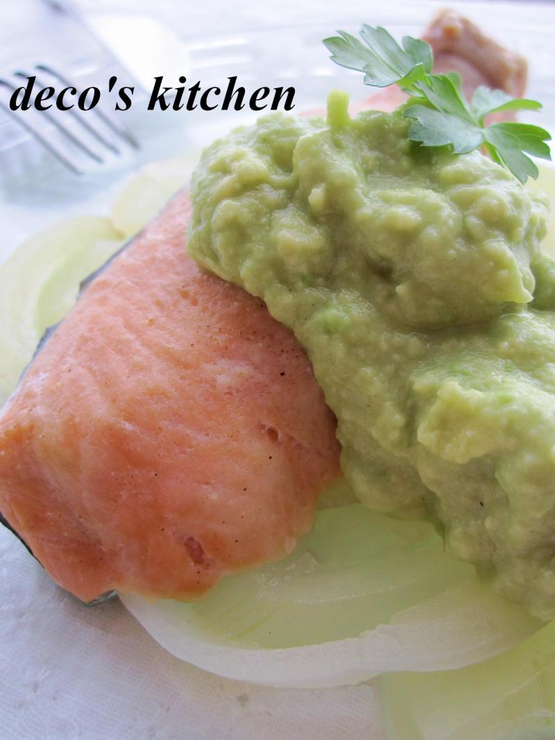 decoの小さな台所。-アボココナッツソース鮭ワイン蒸し4