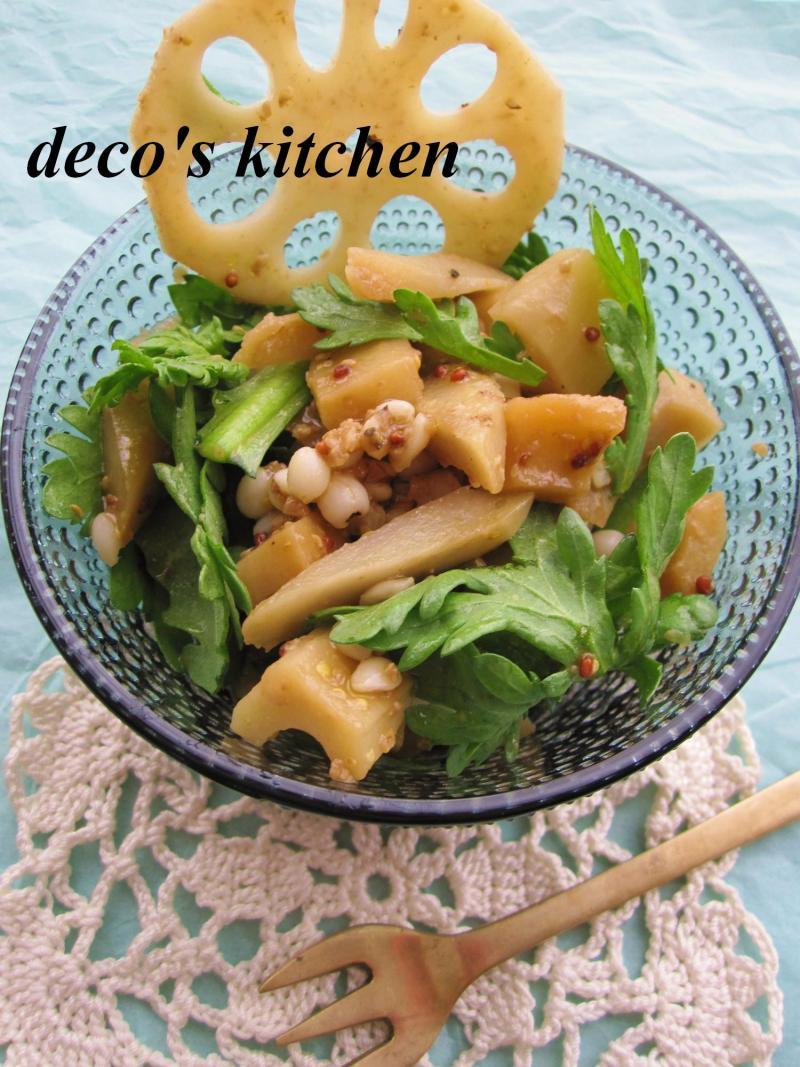 decoの小さな台所。-春菊とごぼれんこんのサラダ2
