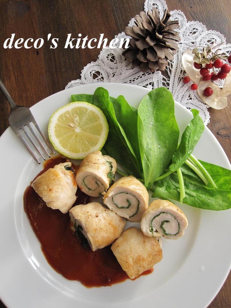 decoの小さな台所。-ささみしそロールトマトバターソース2
