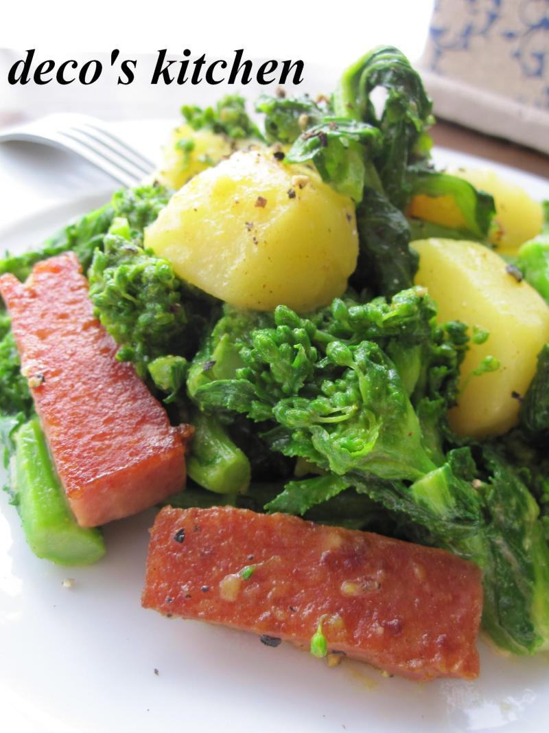 decoの小さな台所。-スパムと菜の花の炒め物4