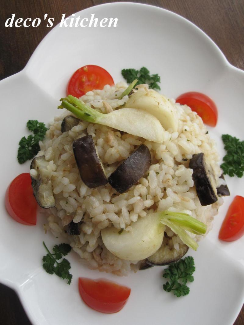decoの小さな台所。-イタリアンハーブな、蕪と茄子のツナピラフ3